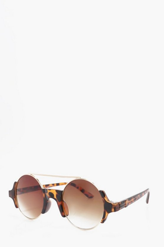 Brown Lense Round Frame Sunglasses