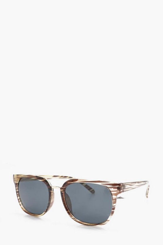 Mirrored Lense Clubmaster Sunglasses