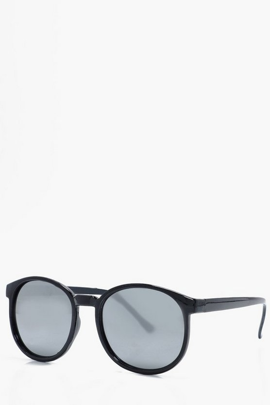 Mirrored Lense Round Frame Sunglasses