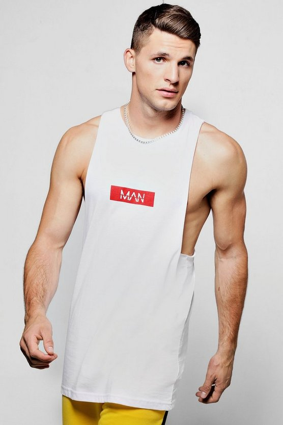 MAN Red Box Logo Print Racer Tank