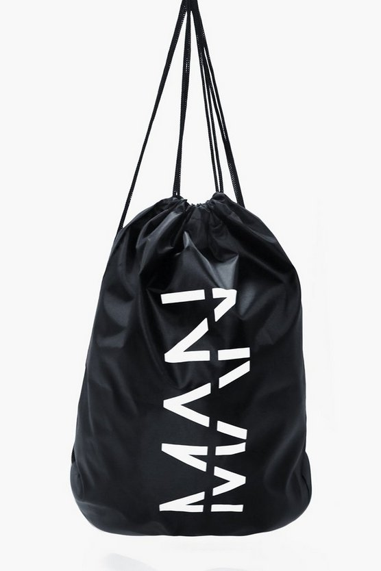 Black MAN Drawstring Bag