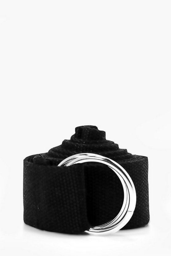 Black XL Canvas Ring Fasten Belt