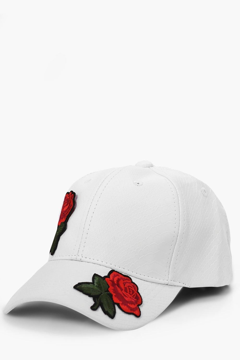 Rose Embroidered Faux Snake Skin Cap - white - Whi