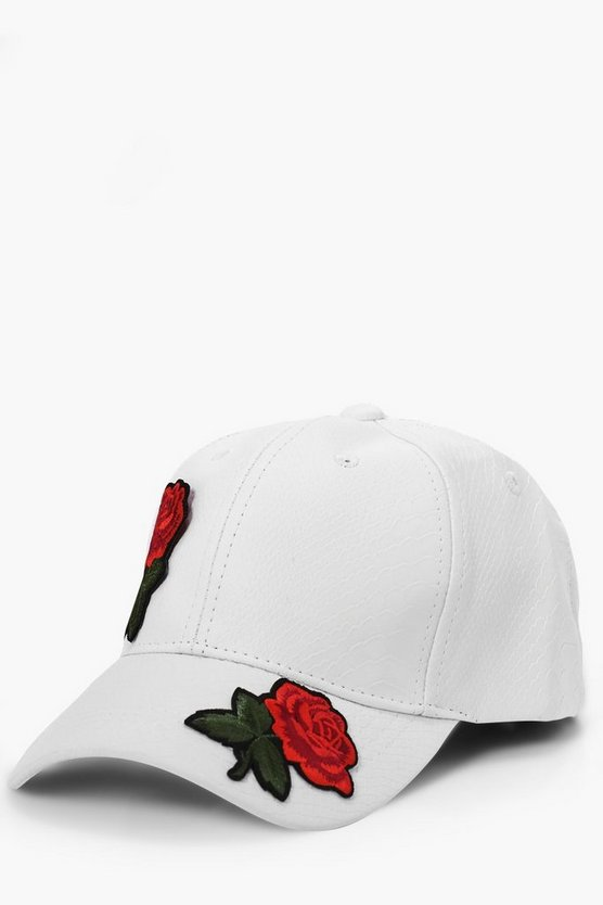 White Rose Embroidered Faux Snake Skin Cap
