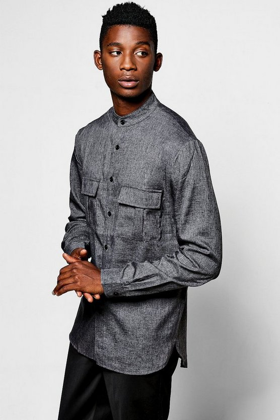 Grandad Check Utility Shirt With Split Hem