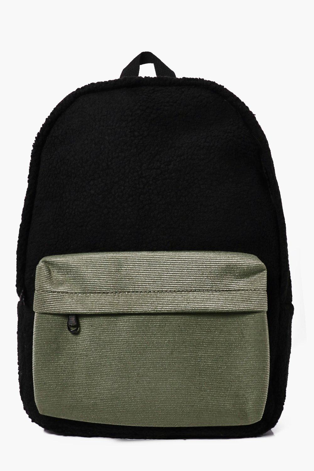 Back Pack With Contrast  Pocket - black - Borg Bac