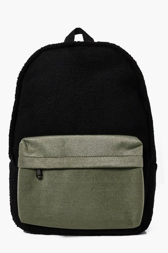 Borg Back Pack With Contrast  Pocket