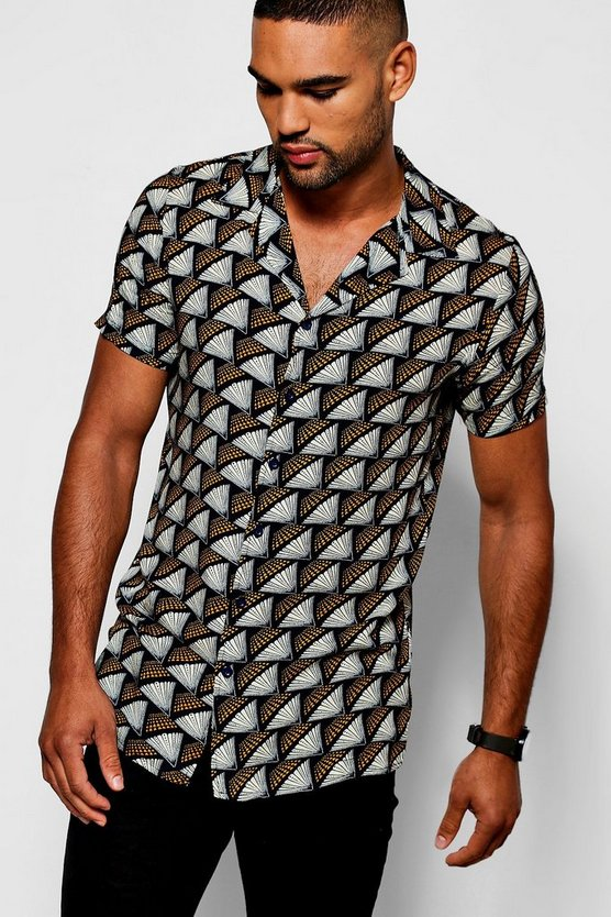 Black Fan Print Short Sleeve Revere Shirt
