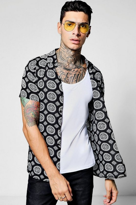 Mandala Print Short Sleeve Collar Shirt