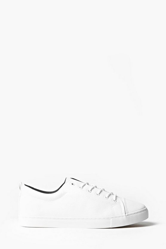 White PU Lace Up Trainers