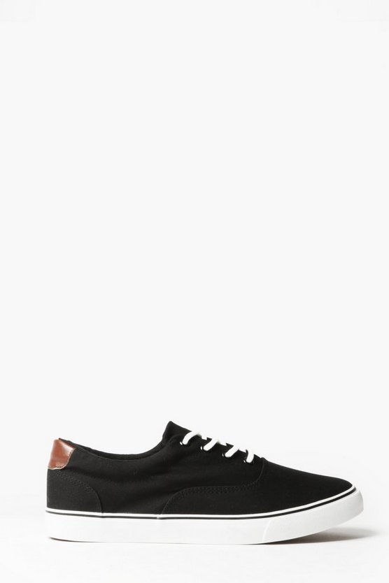 Black Skater Style Canvas Lace Up Plimsolls