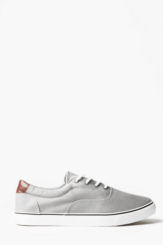Grey Skater Style Canvas Lace Up Plimsolls