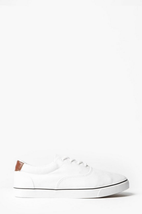 White Skater Style Canvas Lace Up Plimsolls