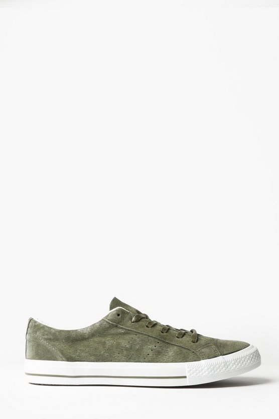 Khaki Suedette Lace Up Trainers
