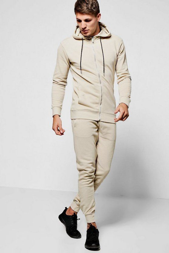 Skinny Fit Hooded Tracksuit In Pique