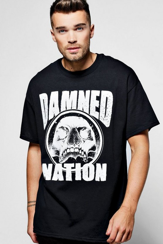 Oversized Damned Nation Skull Print T Shirt