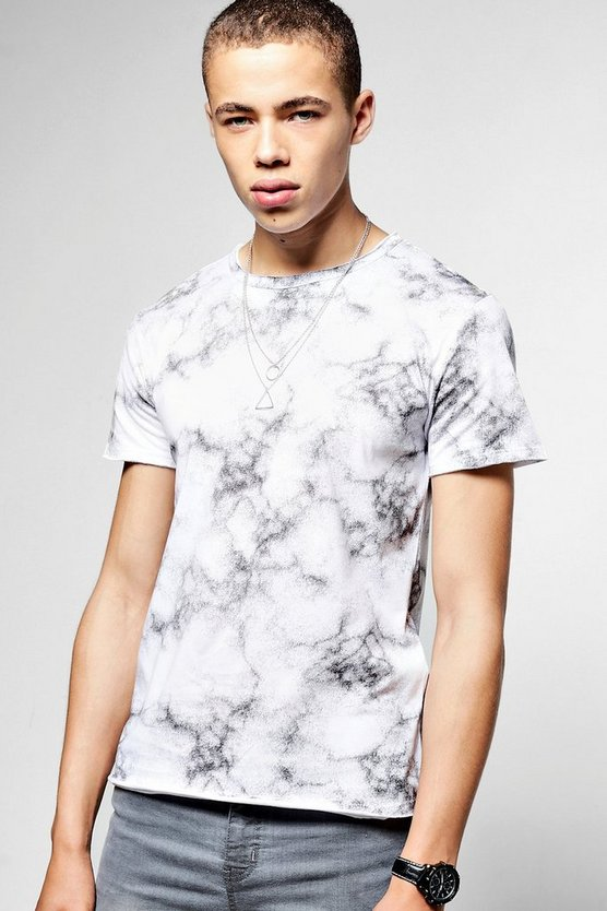 Short Sleeve Crew Neck Marble Print T-Shirt