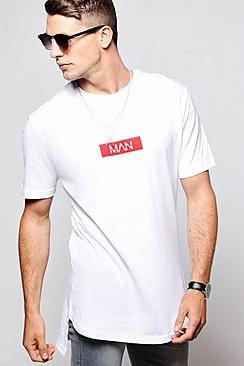 Longline MAN Red Box T-Shirt With Curve Hem