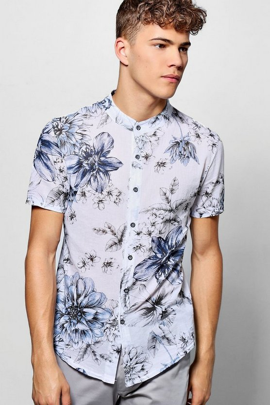 Short Sleeve Large Floral Print Grandad Collar Shirt
