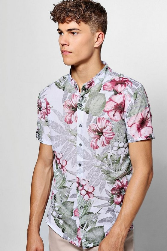 Short Sleeve Floral Grandad Collar Shirt