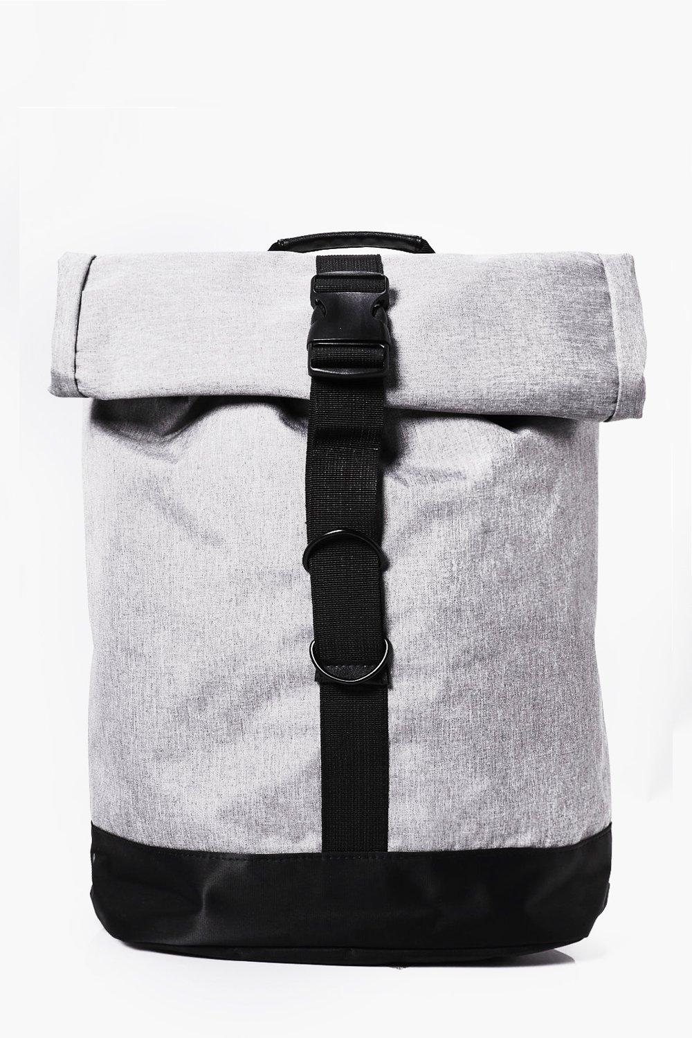 Roll Up Backpack - grey - Grey Roll Up Backpack -