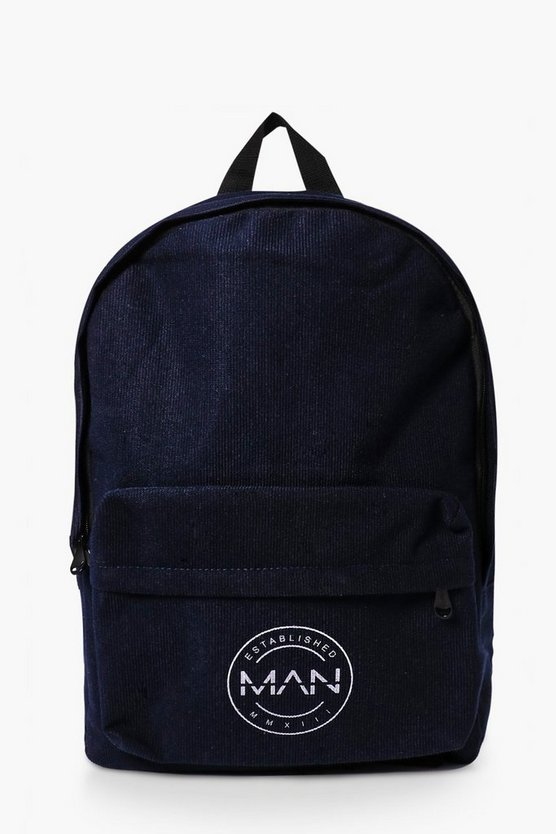 Navy Backpack with Man Logo