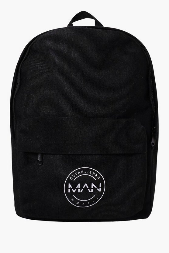 Black Backpack with Man Logo