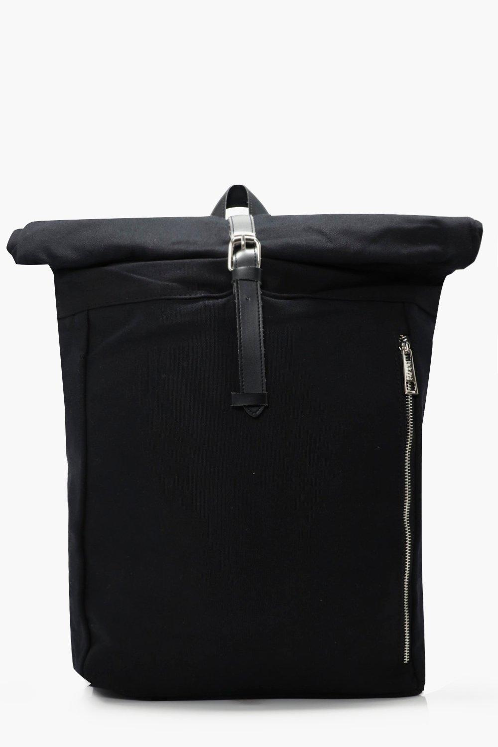 Roll Back Pack with Zip Detail - black - Black Rol