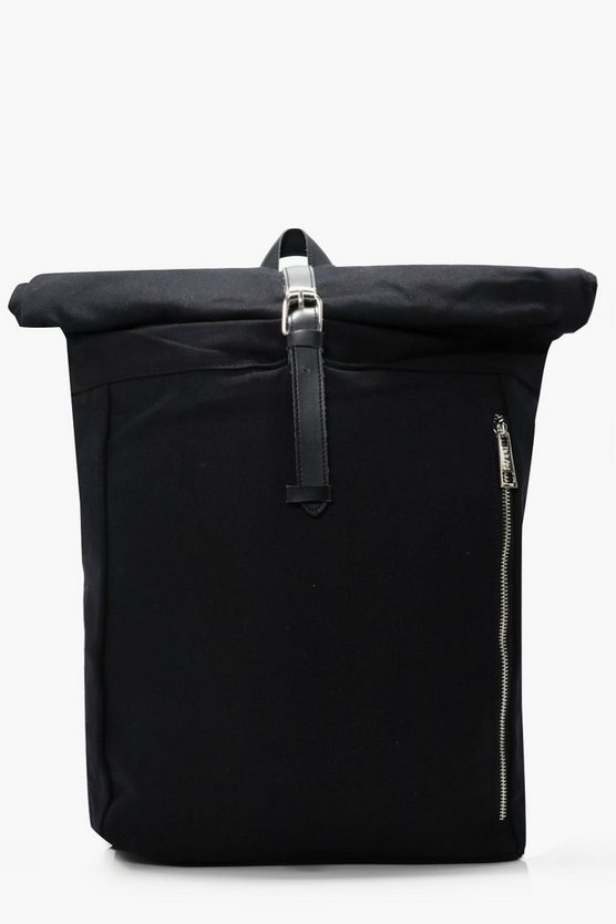 Black Roll Back Pack with Zip Detail