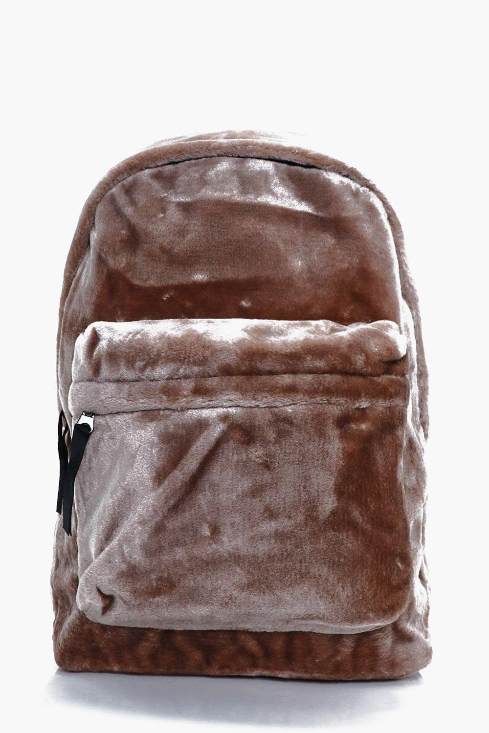 Faux Fur Backpack - taupe - Taupe Faux Fur Backpac
