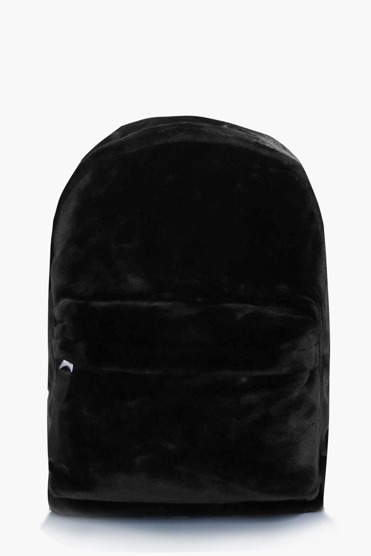 Faux Fur Backpack - black - Black Faux Fur Backpac