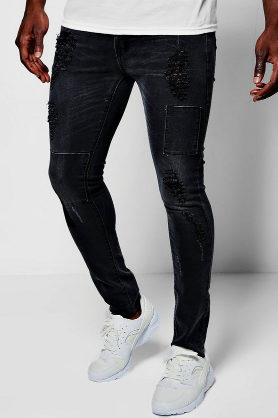 Super Skinny Fit Cropped Patchwork Jeans