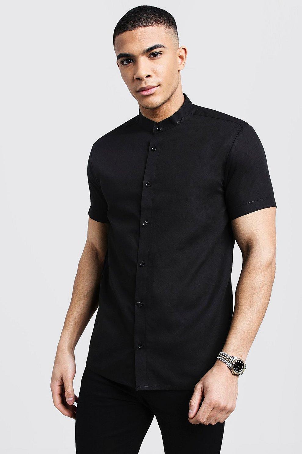 Black Slim Fit Short Sleeve Grandad Collar Shirt | Boohoo