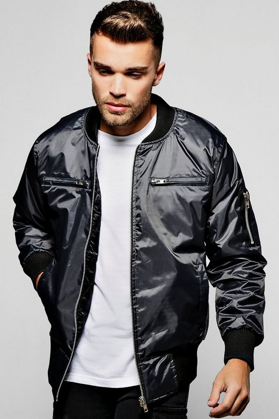 Zip Pocket MA1 Bomber Jacket in Slate