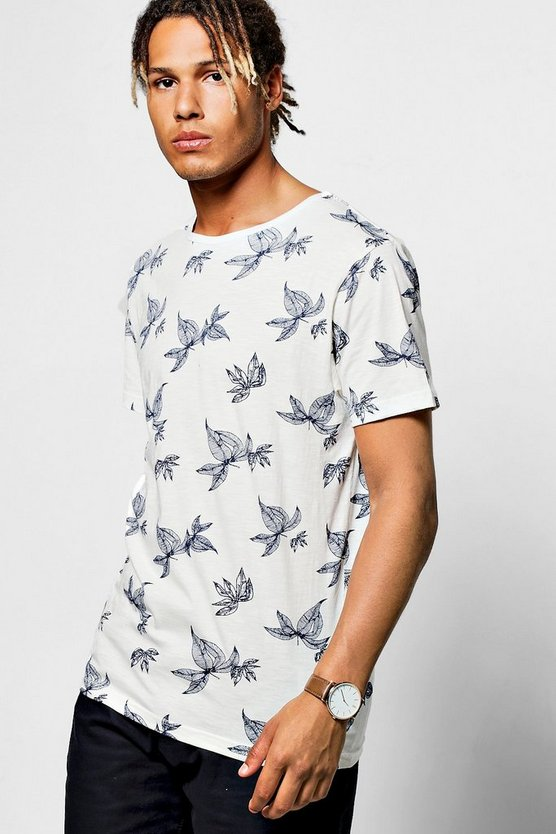 White Leaf Printed T Shirt