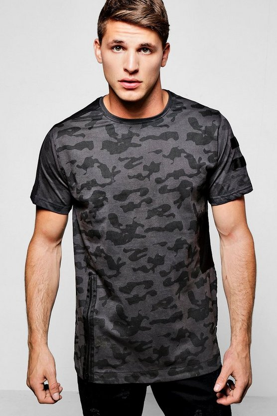 Longline Camo T Shirt With Side Zip