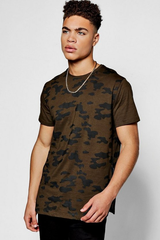 Camo T Shirt With Rib Panel And Scoop Hem