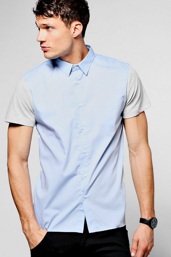 Blue Contrast Jersey Short Sleeve Shirt