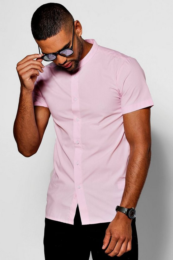 Pink Slim Fit Short Sleeve Grandad Collar Shirt