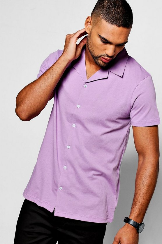 Lilac Short Sleeve Revere Collar Jersey Shirt