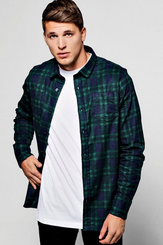 Green Long Sleeve Check Shirt