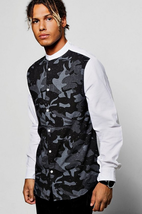 Long Sleeve Grandad Collar Oxford Shirt With Camo Panel