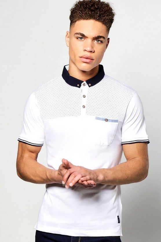 White Short Sleeve Polka Dot Yoke Polo