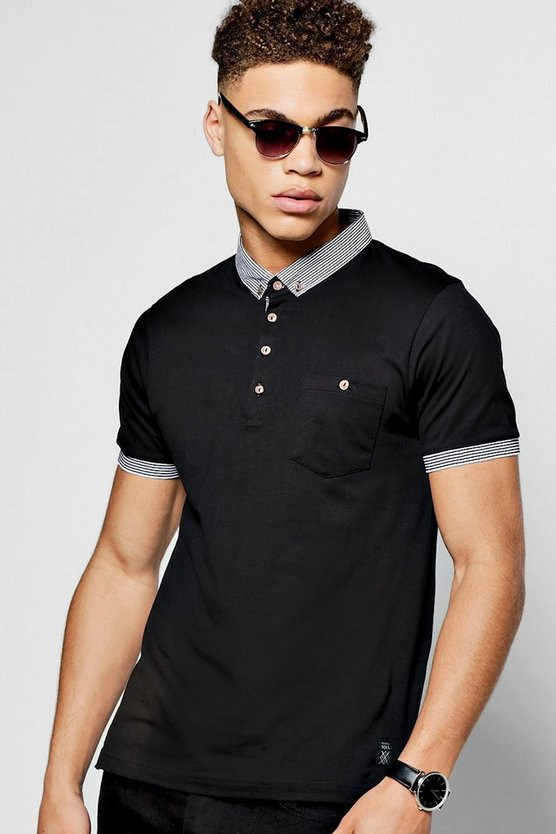 Black Short Sleeve Polo With Stripe Collar