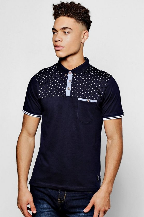 Navy Short Sleeve Polo With Printed Yoke