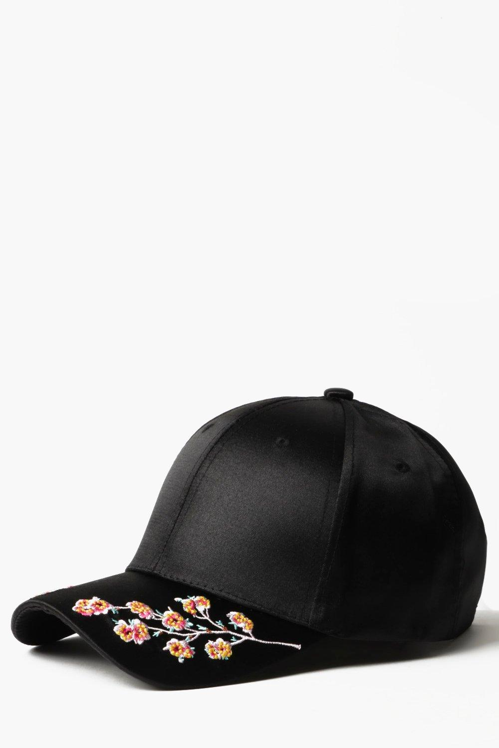 Floral Embroidered Cap - black - Black Floral Embr
