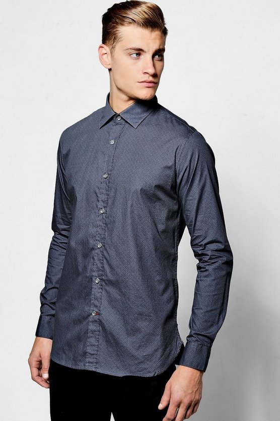 Long Sleeve Micro Print Shirt