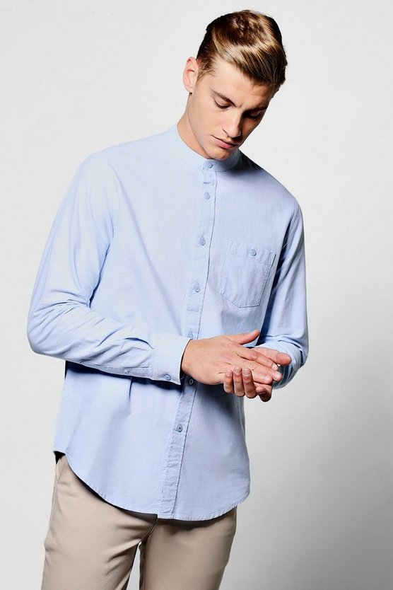 Long Sleeve Grandad Oxford Shirt