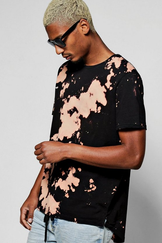 Longline Scoop Hem T Shirt in Acid Wash