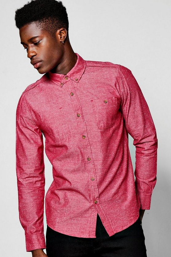 Red Long Sleeve Nepp Shirt